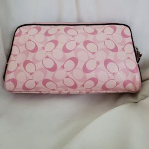 Coach makeup bag cosmetic Pink monogram wallet